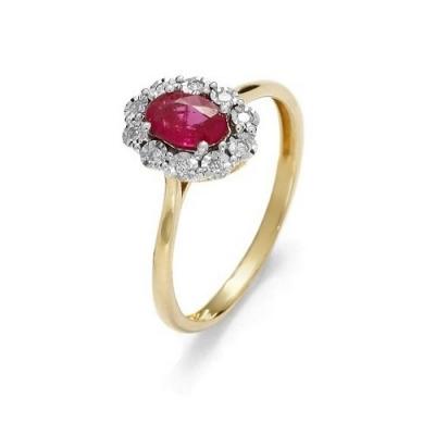 A&A złoty pierścionek z brylantami i rubinem