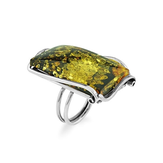 A&A Srebrny pierścionek z bursztynem