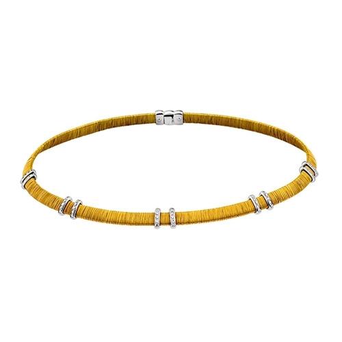 A&A złoty pleciony naszyjnik z brylantami