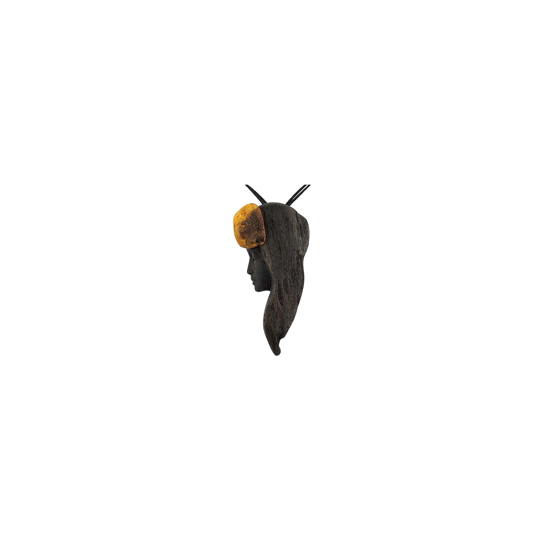 A&A zawieszka z drewna czarnego dębu i bursztynu bałtyckiego na rzemieniu
