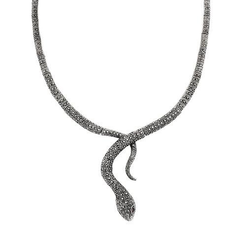 A&A srebrny naszyjnik w kształcie węża z pirytami i rubinami