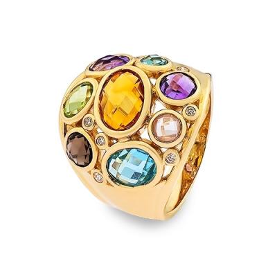 pierścionek złoty z różnymi kamieniami naturalnymi