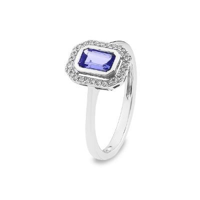 złoty pierścionek z diamentami i tanzanitem o szlifie szmaragdowym
