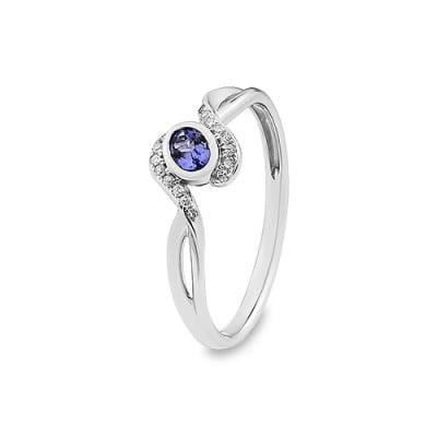 pierścionek złoty z diamentami i tanzanitem