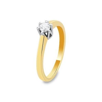 A&A Pierścionek z białego i żółtego złota z brylantem