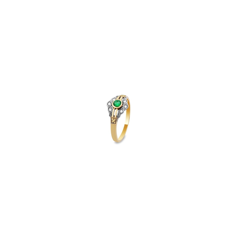 836326932a52b8 A&A Złoty pierścionek ze szmaragdem i brylantami o masie 2,43 g