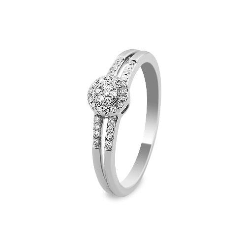 A&A Pierścionek wykonany w białym złocie z diamentami 0,11 kt.