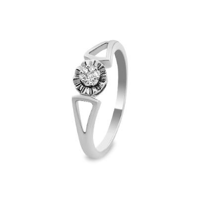 A&A Pierścionek wykonany w białym złocie z diamentami 0,06 kt.