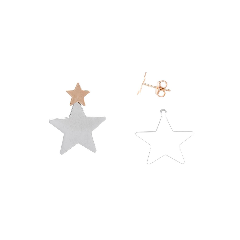 A&A Kolczyki srebrne z dwóch kolorowych gwiazdek