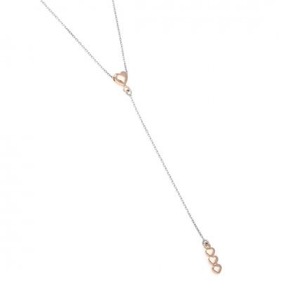 A&A Naszyjnik srebrny z różowymi serduszkami