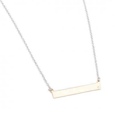 A&A Naszyjnik srebrny z blaszką i cyrkonią