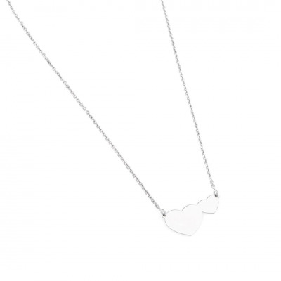 A&A Srebrny naszyjnik w kształcie dwóch połączonych serc
