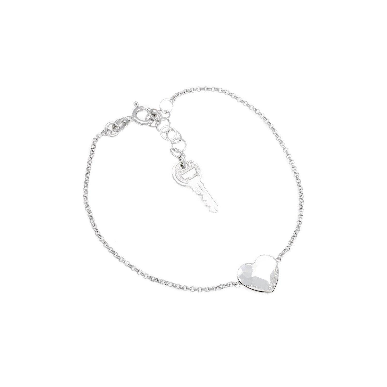 A&A Bransoletka srebrna z serduszkiem i kluczykiem