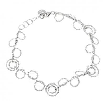 A&A Bransoletka srebrna z diamentowanymi kółkami