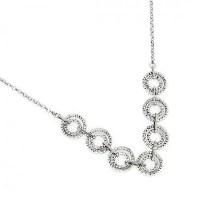 A&A Naszyjnik srebrny z kółkami diamentowanymi