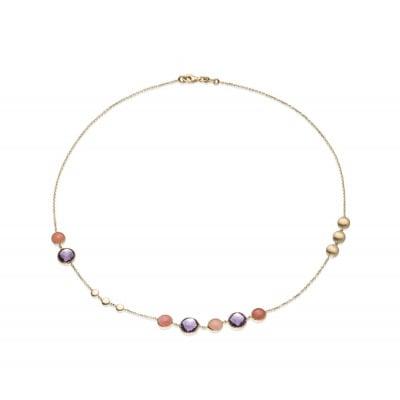 Złoty naszyjnik z ametystami i kwarcami różowymi