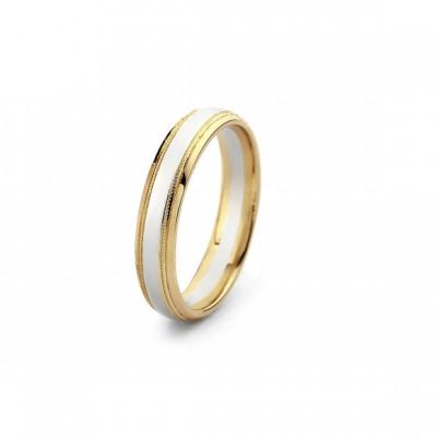 Obrączka ślubna półokrągła z żółtego i białego złota 585