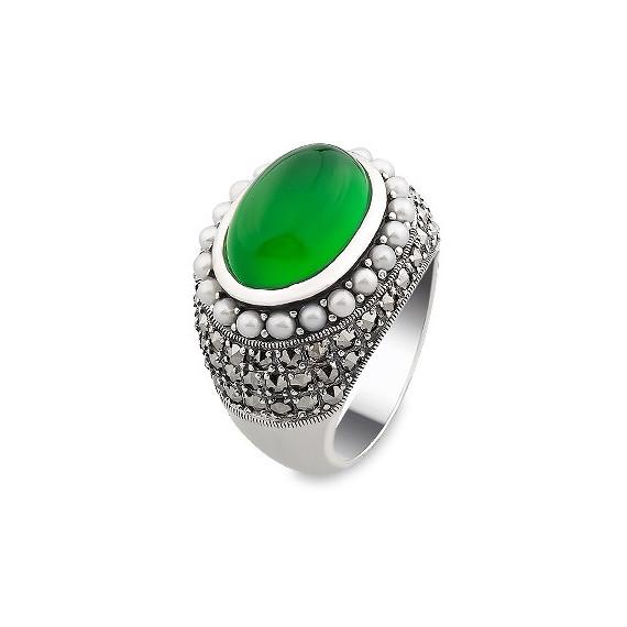 A&A Srebrny pierścionek z agatem perłami i markazytami