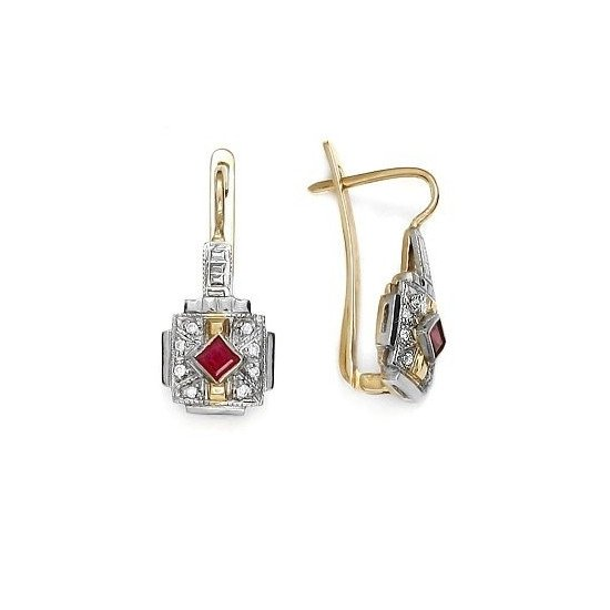 A&A Kolczyki ze złota z rubinami i brylantami