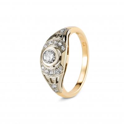 A&A Złoty pierścionek z brylantami 0,33 CT
