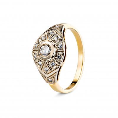 A&A Złoty pierścionek z brylantami 0,35 CT