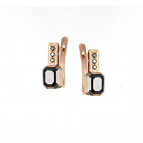 Kolczyki z różowego złota z czarnymi brylantami 0,09 ct