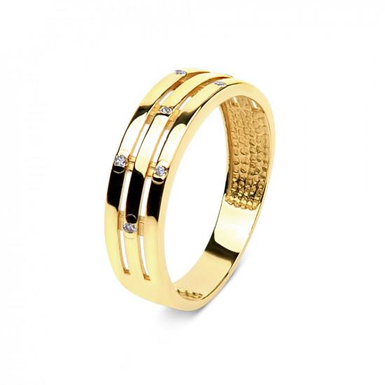 A&A Pierścionek z żółtego złota z cyrkoniami
