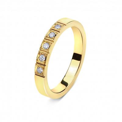 A&A Pierścionek z żółtego złota z brylantami