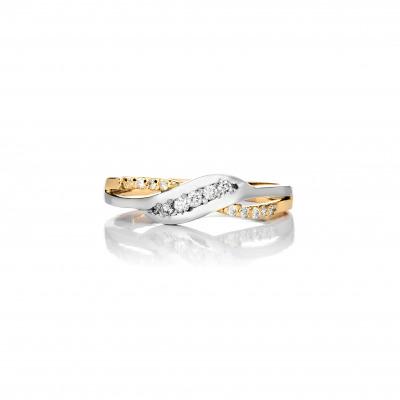 A&A pierścionek z białego złota z brylantami 0,11 ct