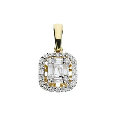 A&A Przywieszka ze złota z brylantami i diamentami bagietowymi