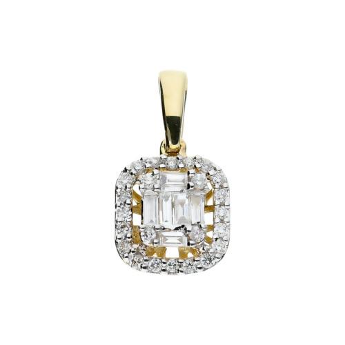 Przywieszka ze złota z brylantami i diamentami bagietowymi