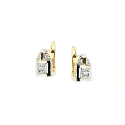 A&A Kolczyki ze złota z brylantami w stylu Art Déco