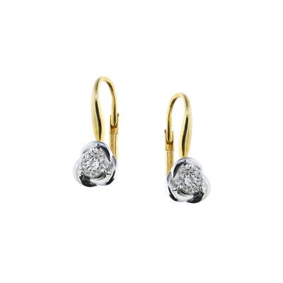 A&A Kolczyki z dwukolorowego złota z brylantami