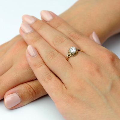 A&A Ręcznie wykonany pierścionek ze złota z brylantem 1,01 ct