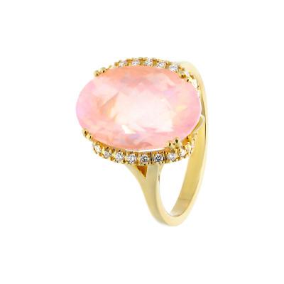A&A Pierścionek ze złota z kwarcem różowym i brylantami