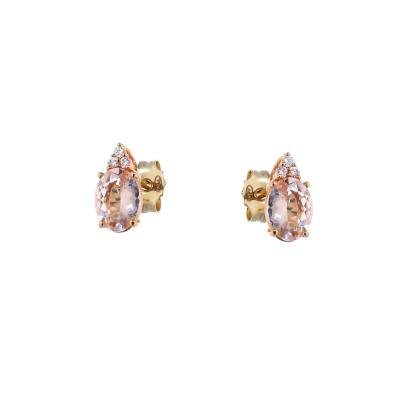 Kolczyki z różowego złota z morganitem i brylantami
