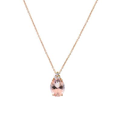 A&A Klasyczny naszyjnik z różowego złota z morganitem i brylantami