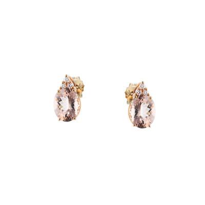 A&A Kolczyki z różowego złota z morganitem i brylantami