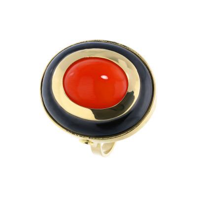 A&A złoty pierścionek z koralem i z onyksem