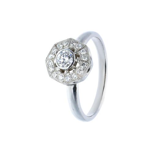 pierścionek złoty z brylantami 0,43 ct Vs/G