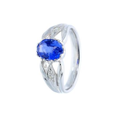 A&A pierścionek z szafirem 1,61 ct i brylantami 0,03 ct
