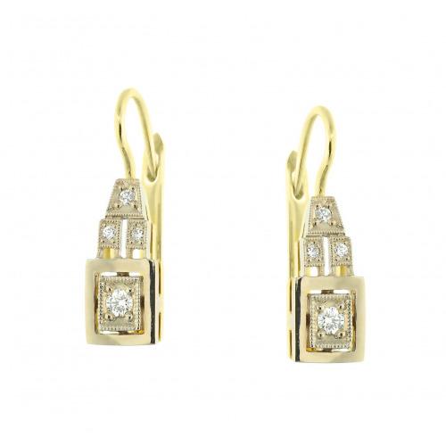 Kolczyki ze złota z brylantami w stylu Art Déco
